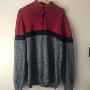 American Eagle red, black and Gray sweater